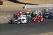 Josef Newgarden leads a group as contact is made back in the pack during the start of the GoPro Grand Prix of Sonoma at Sonoma Raceway -- Photo by: Richard Dowdy