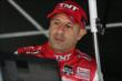 Tony Kanaan in his pit stand prior to practice for the Iowa Corn Indy 300 at Iowa Speedway -- Photo by: Chris Jones