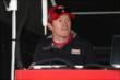 Scott Dixon in his pit stand prior to practice for the Iowa Corn Indy 300 at Iowa Speedway -- Photo by: Chris Jones