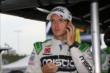 Sebatien Bourdais in his pit stand prior to practice for the Iowa Corn Indy 300 at Iowa Speedway -- Photo by: Chris Jones