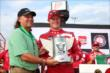 Scott Dixon accepts the Sukup Pole Award for winning the pole for the Iowa Corn Indy 300 at Iowa Speedway -- Photo by: Chris Jones