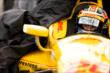 Ryan Hunter-Reay sits in his car during a rain delay at Iowa Speedway -- Photo by: Shawn Gritzmacher