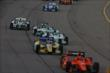 Simon Pagenaud leads a group of cars at the early stages of the Iowa Corn Indy 300 -- Photo by: Chris Jones