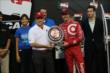 Scott Dixon accepts the Verizon P1 Award for winning the pole for the Iowa Corn Indy 300 at Iowa Speedway -- Photo by: Chris Jones