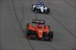 Teammates Simon Pagenaud and Mikhail Aleshin streak down the frontstretch during the early stages of the Iowa Corn Indy 300 at Iowa Speedway -- Photo by: Chris Jones