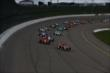 Scott Dixon and Tony Kanaan lead the field to the green flag to start the Iowa Corn Indy 300 at Iowa Speedway -- Photo by: Chris Jones