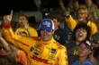 Ryan Hunter-Reay celebrates his Iowa Corn Indy 300 victory with the fans at Iowa Speedway -- Photo by: Chris Jones