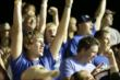 Jubilant fans at Iowa Speedway during the Iowa Corn Indy 300 -- Photo by: Shawn Gritzmacher