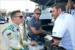 Mike Conway chats with the Ed Carpenter Racing team prior to practice for the Honda Indy 200 at Mid-Ohio -- Photo by: Chris Owens