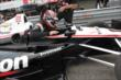 Will Power climbs into his car prior to practice for the Honda Indy 200 at Mid-Ohio -- Photo by: Joe Skibinski
