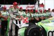 Sebastien Bourdais affixes the Verizon P1 Award emblem after winning the pole for the Honda Indy 200 at Mid-Ohio -- Photo by: Chris Jones