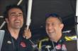 Dario Franchitti and Tony Kanaan laugh it up in their pit stand at Mid-Ohio -- Photo by: Chris Owens