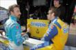 James Hinchcliffe and Marco Andretti chat along pit lane prior to practice for the Honda Indy 200 at Mid-Ohio -- Photo by: Joe Skibinski