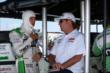 Sebastien Bourdais chats with KVSH Team Owner Jimmy Vasser prior to practice for the ABC Supply Wisconsin 250 at the Milwaukee Mile -- Photo by: Chris Jones
