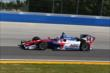 Takuma Sato enters Turn 3 during practice for the ABC Supply Wisconsin 250 at the Milwaukee Mile -- Photo by: Chris Jones