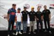 Graham Rahal, Takuma Sato, James Hinchcliffe, Marco Andretti, Ed Carpenter, and Ryan Hunter-Reay at the Beer, Cheese, and Charity event in downtown Milwaukee -- Photo by: Chris Jones