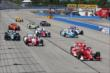 Scott Dixon leads a group of cars at the start of the ABC Supply Wisconsin 250 at the Milwaukee Mile -- Photo by: Chris Jones