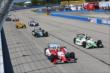 Justin Wilson and Sebastien Bourdais go side-by-side at the start of the ABC Supply Wisconsin 250 at the Milwaukee Mile -- Photo by: Chris Jones