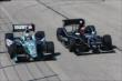 Graham Rahal and Jack Hawksworth go side-by-side during the early stages of the ABC Supply Wisconsin 250 at the Milwaukee Mile -- Photo by: Chris Jones