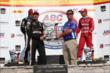 Will Power receives his 1st Place trophy in Victory Lane following the ABC Supply Wisconsin 250 at the Milwaukee Mile -- Photo by: Chris Jones