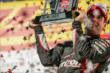 Will Power raises his 1st Place trophy in Victory Circle after winning the ABC Supply Wisconsin 250 at the Milwaukee Mile -- Photo by: Shawn Gritzmacher