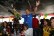 Helio Castroneves (Brazil) celebrates a goal during the World Cup Watch Party at Pocono Raceway -- Photo by: Bret Kelley