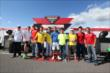 Verizon IndyCar Series and Indy Lights drivers with a photo during the World Cup Watch Party at Pocono Raceway -- Photo by: Chris Jones