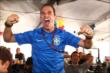 Helio Castroneves celebrates Brazil's victory over Colombia during the World Cup Watch Party at Pocono Raceway -- Photo by: Chris Jones