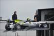 Josef Newgarden's car is unloaded at Pocono Raceway -- Photo by: Chris Owens