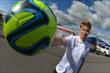 Josef Newgarden with a soccer ball during a break from the World Cup Watch Party at Pocono Raceway -- Photo by: Chris Owens