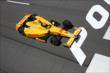 Ryan Hunter-Reay streaks to the start/finish line during practice at Pocono Raceway -- Photo by: Bret Kelley