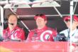 Scott Dixon review telemetry data in his pit stand at Pocono Raceway -- Photo by: Bret Kelley