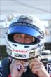 Graham Rahal straps on his helmet prior to qualifications for the Pocono INDYCAR 500 -- Photo by: Bret Kelley
