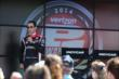 Helio Castroneves chats with fans in the INDYCAR Fan Village at Pocono Raceway -- Photo by: Chris Jones