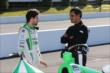 Colombians Carlos Munoz and Juan Pablo Montoya chat prior to qualifications for the Pocono INDYCAR 500 at Pocono Raceway -- Photo by: Chris Jones