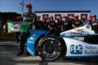 Juan Pablo Montoya wins the Verizon P1 Award for winning the pole for the Pocono INDYCAR 500 -- Photo by: Chris Jones