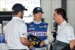 Ryan Briscoe chats with his team before practice at Pocono Raceway -- Photo by: Chris Owens