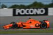 Simon Pagenaud enters Turn 3 during practice for the  Pocono INDYCAR 500 at Pocono Raceway -- Photo by: Chris Owens