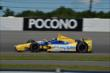Marco Andretti enters Turn 3 during practice for the  Pocono INDYCAR 500 at Pocono Raceway -- Photo by: Chris Owens