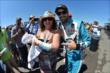 James Hinchcliffe with a fan at Pocono Raceway -- Photo by: Chris Owens
