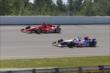 Tony Kanaan and Ryan Briscoe go two-wide during the Pocono INDYCAR 500 at Pocono Raceway -- Photo by: Chris Jones
