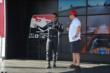 Juan Pablo Montoya chats with fans in the INDYCAR Fan Village at Pocono Raceway -- Photo by: Chris Owens