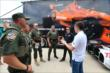 Mikhail Aleshin and Simon Pagenaud meet members of the Ft. Worth SWAT team at Texas Motor Speedway -- Photo by: Chris Jones