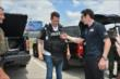 Mikhail Aleshin and Simon Pagenaud try out gear from the Ft. Worth SWAT team at Texas Motor Speedway -- Photo by: Chris Owens