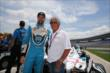 James Hinchcliffe and Mario Andretti pose for a photo prior to qualifications for the Firestone 600 at Texas Motor Speedway -- Photo by: Chris Jones