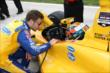 Marco Andretti chats with teammate Ryan Hunter-Reay prior to qualifications for the Firestone 600 at Texas Motor Speedway -- Photo by: Chris Jones