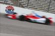 Justin Wilson flashes into Turn 1 during practice for the Firestone 600 at Texas Motor Speedway -- Photo by: Chris Jones