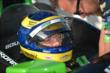 Sebastien Bourdais gets strapped in before the evening practice session at Texas Motor Speedway -- Photo by: Chris Owens