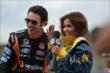 Entertainment Tonight Canada host Sangita Patel interviews Simon Pagenaud before her 2-seater ride at the Honda Indy Toronto -- Photo by: Eric Anderson