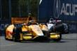 Ryan Hunter-Reay and Will Power enter Turn 5 during practice for the Honda Indy Toronto -- Photo by: Chris Jones